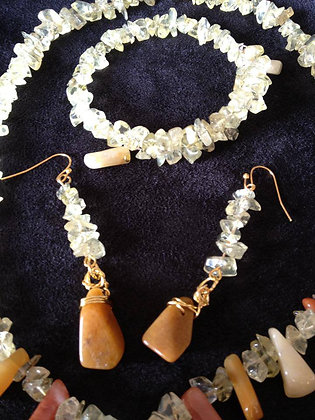 Quartzite and Lemon Quartz jewellery set