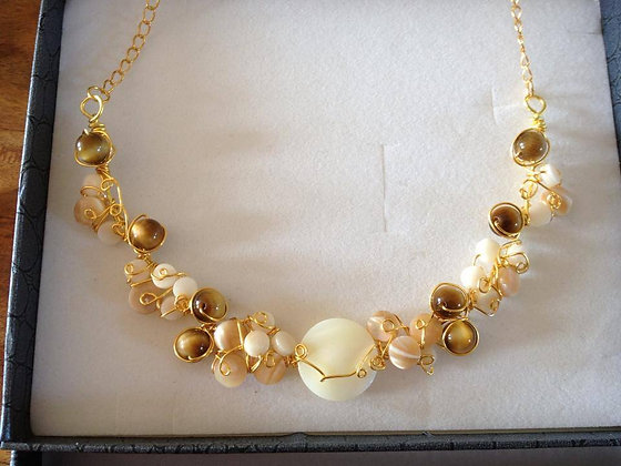 Shell and Tigers Eye wirework necklace