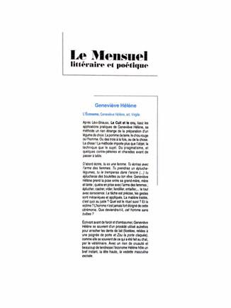 Le mensuel littéraire - Geneviève Hélène