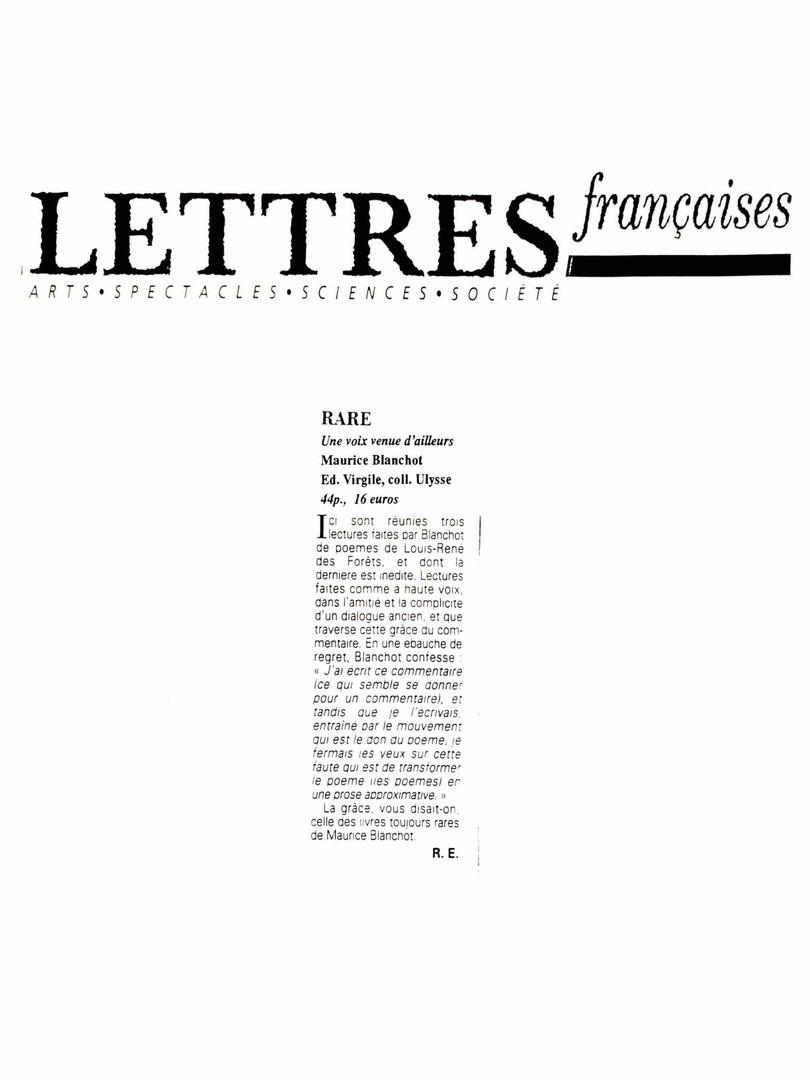 Lettres françaises - Maurice Blanchot