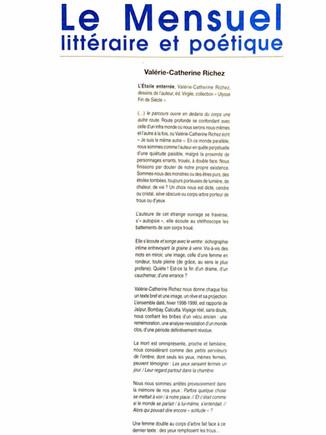 Le mensuel littéraire - Valérie-Catherine Richez