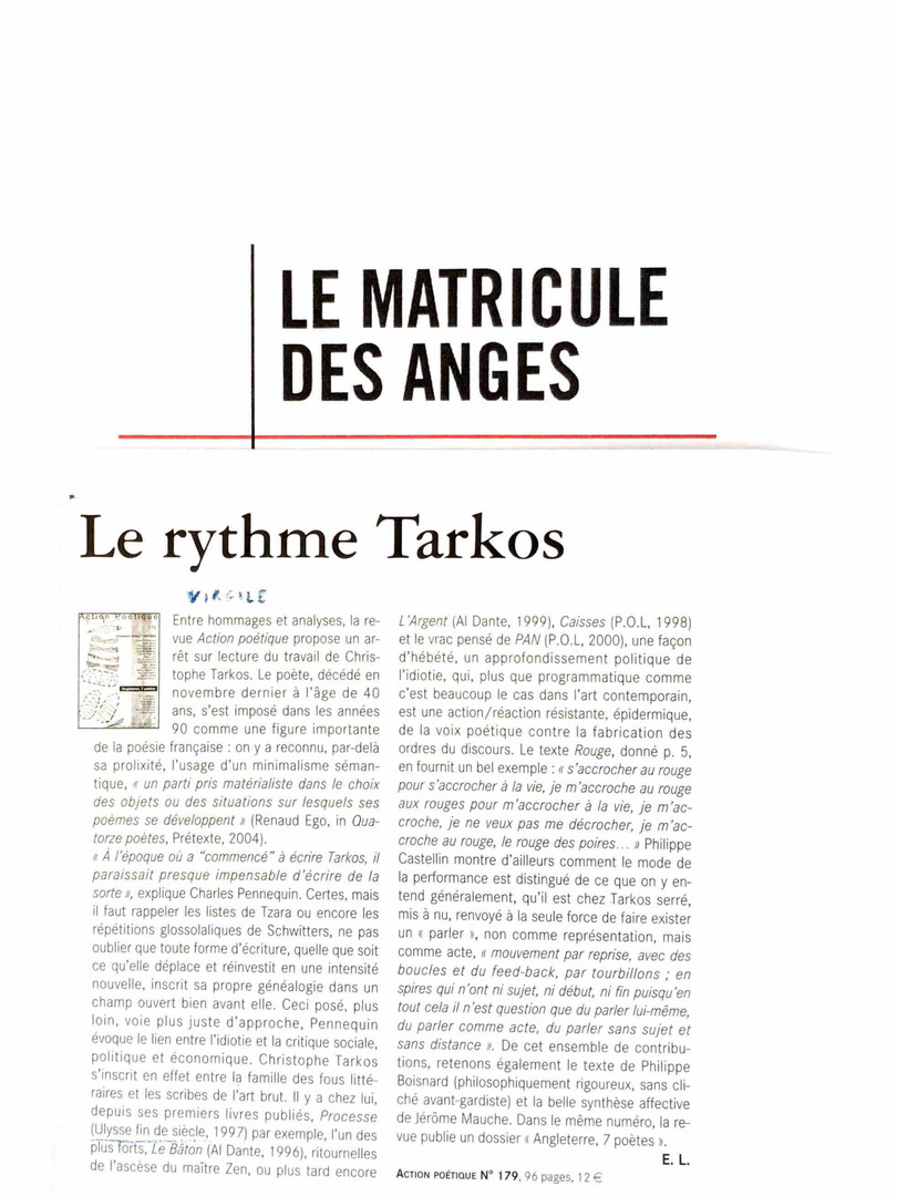 Le matricule des anges - Christophe Tark