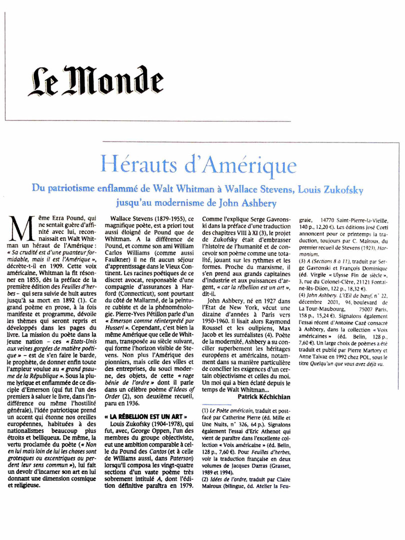 Le Monde - Louis Zukofsky