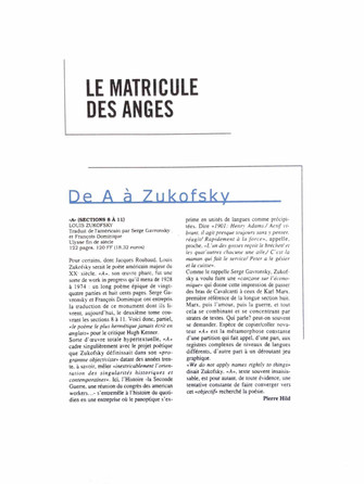 Le matricule des anges - Louis Zukofsky