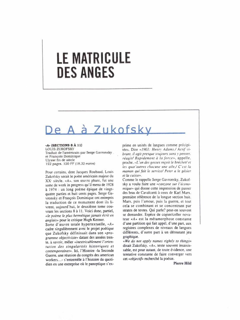 Le matricule des anges - Louis Zukofsky