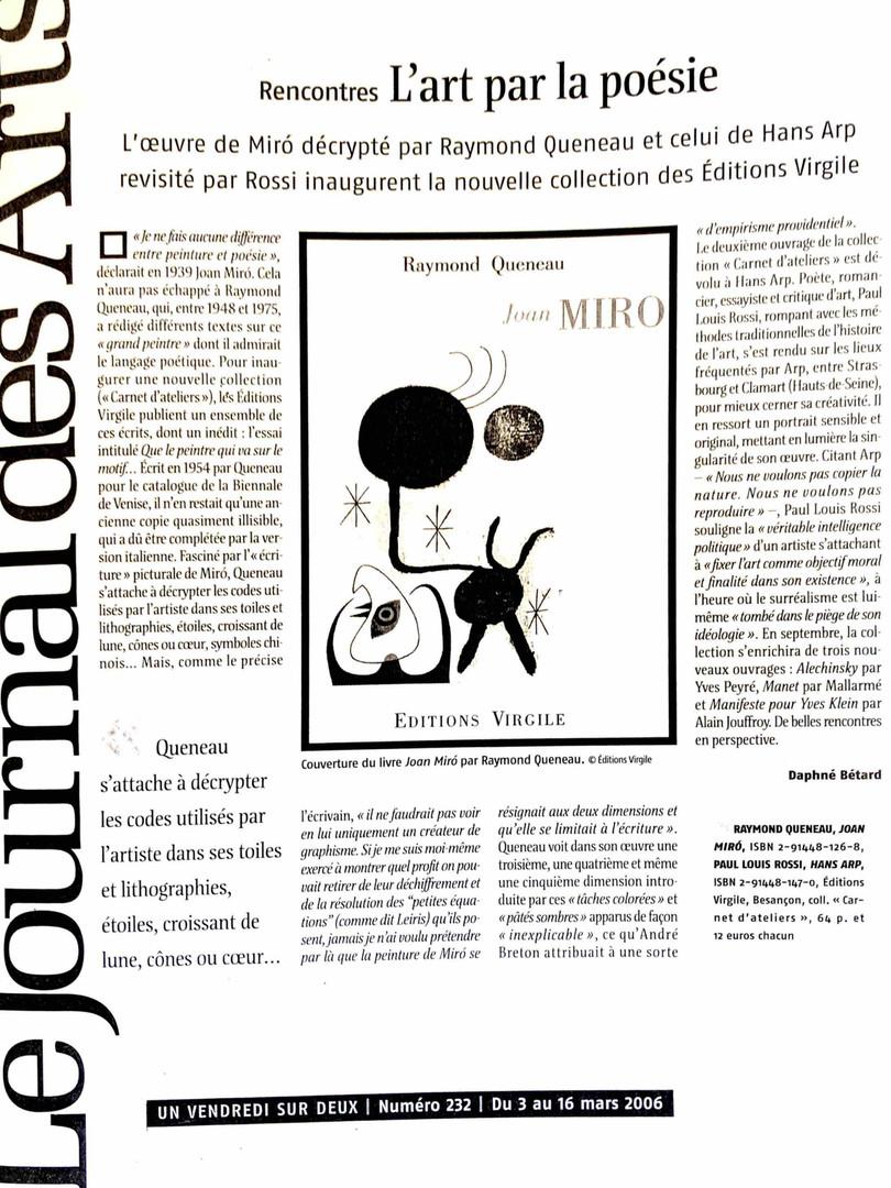 Le journal des Arts - Raymond Queneau