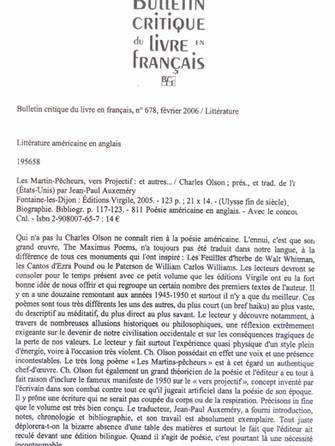 Bulletin critique du livre en français - Charles Olson