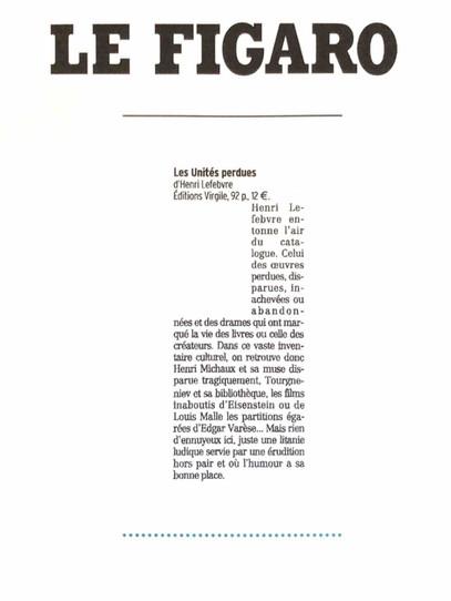 Le figaro - Henri Lefebvre