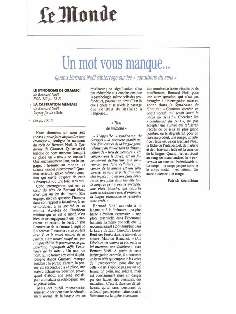 Le Monde - Bernard Noël