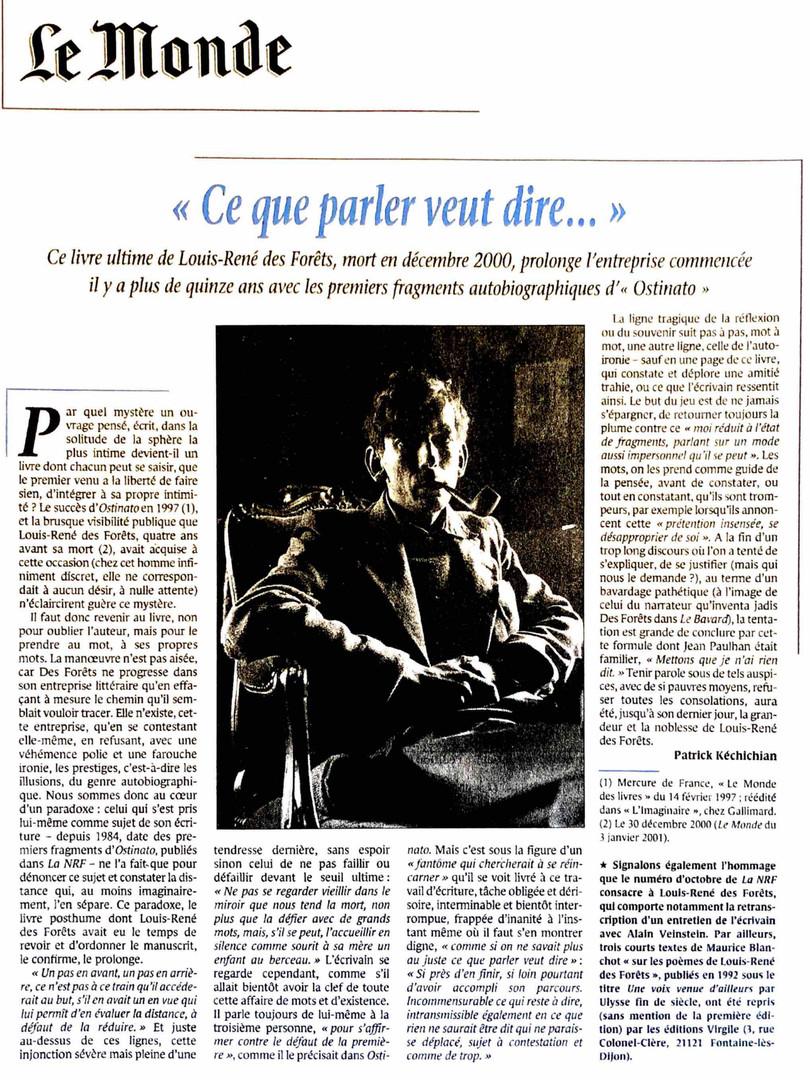 Le Monde - Louis-René des Forêts