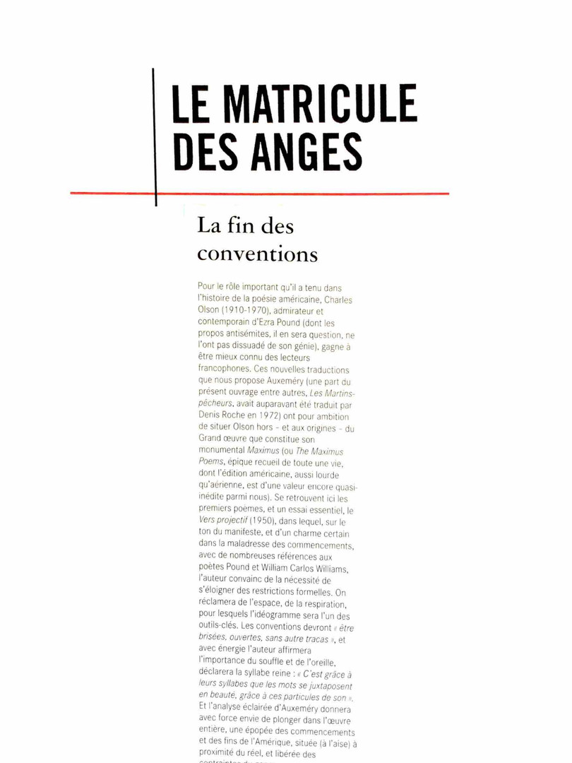 Le matricule des anges - Charles Olson