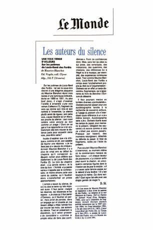 Le Monde - Maurice Blanchot