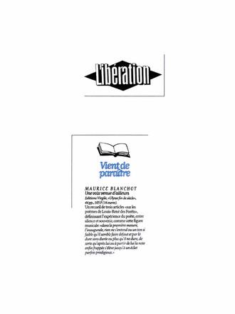 Libération - Maurice - Blanchot