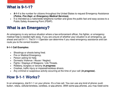 When to Call 9-1-1...?