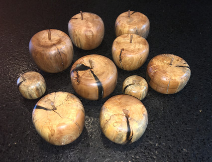 Apples turned from a spalted apple wood tree limb