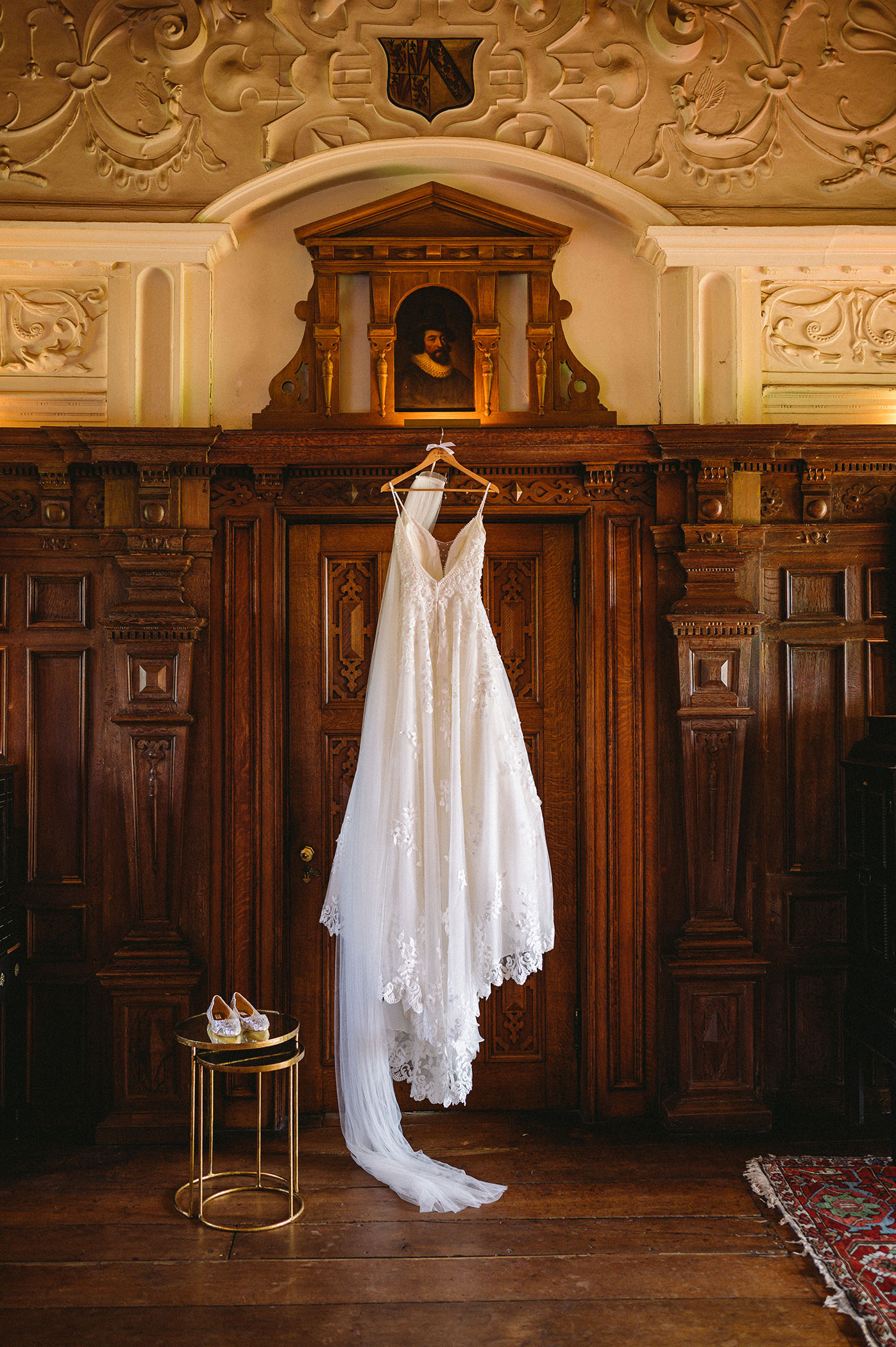 Wedding dress at Dorfold Hall