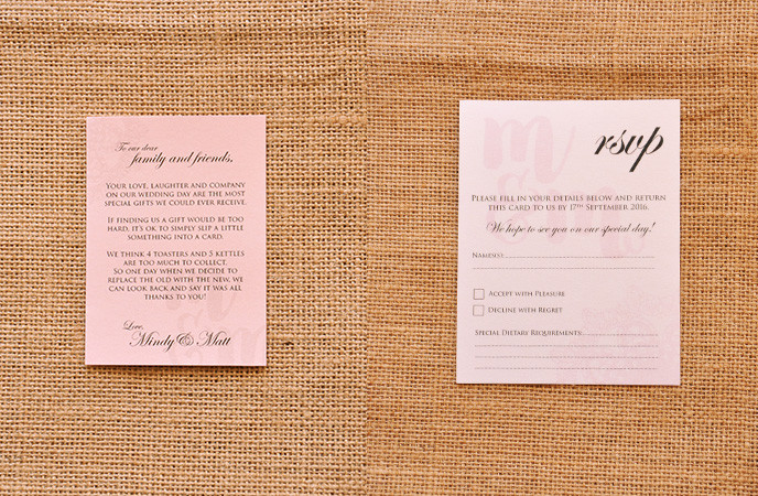 Classic vintage wedding invitation wishing well and RSVP card with a modern touch.
