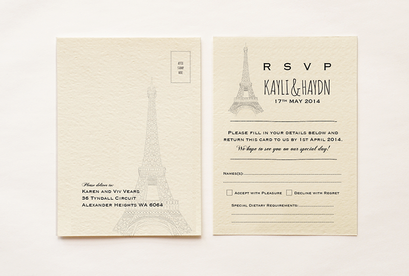 Paris Themed RSVP Card