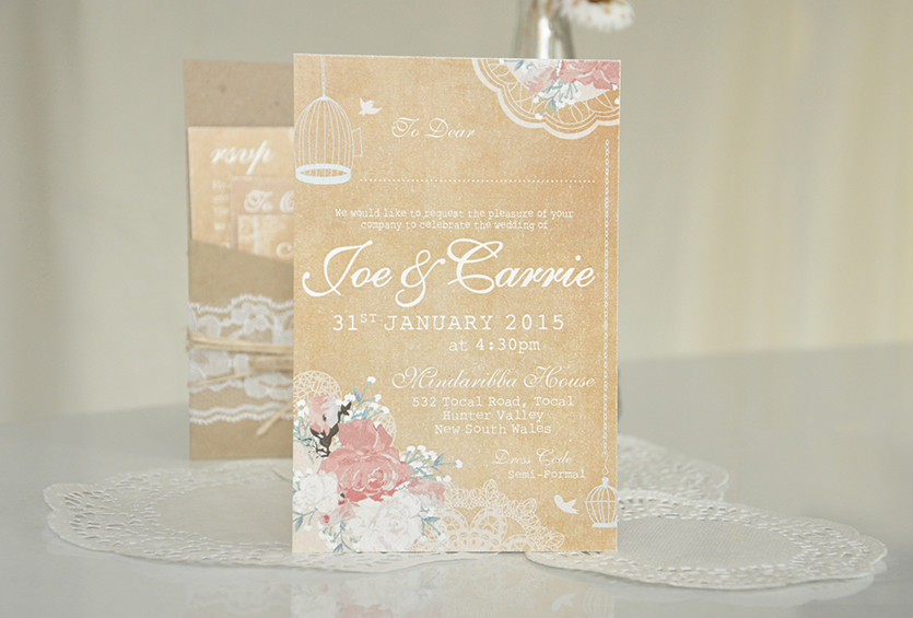 Rustic Floral Lace Wedding Invitation