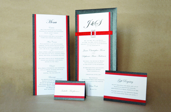 Red & Black Monogram Invitation