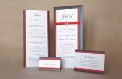 Red & Black Monogram Invitation