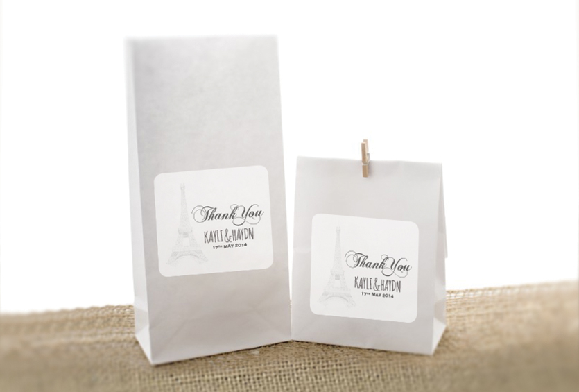 Paris Themed Wedding Candy Loot Bags