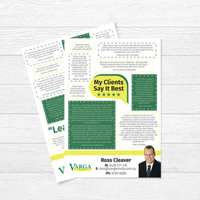 Testimonials Flyer for Ross Cleaver at Varga Realty