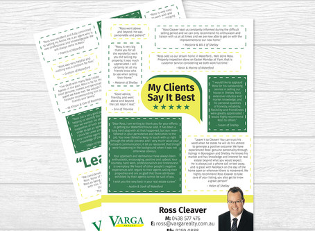 Testimonials Flyer for Ross Cleaver at Varga Realty