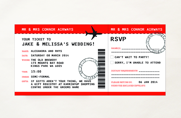 Boarding Pass Airline Plane Ticket Invitations