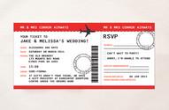 Airplane Ticket Wedding Invitation & RSVP