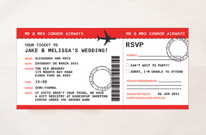 Airplane Ticket Wedding Invitation & RSVP