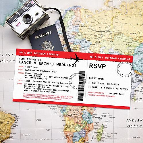Airline Plane Ticket Wedding Invitation