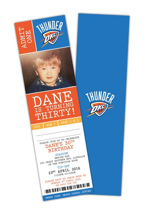 30th Birthday Invite Oklahoma City Thunder Basketball Ticket Invitation