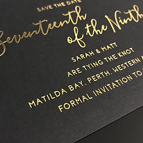 Black and gold foil wedding invitation save the date