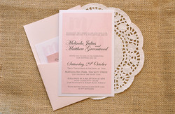 Classic Vintage Wedding Invitation Matt Mindy Lace Layered Pocket Style