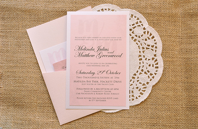 Classic vintage wedding invitation pocket set with a modern touch.