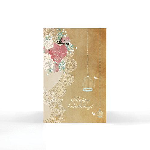"""""""Happy Birthday"""" Floral Vintage Birds Card"""