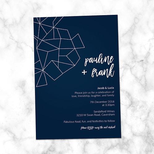 Navy Blue Geometric Shapes Wedding Invitation