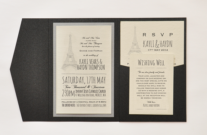 Paris Themed Pocket Style Invite