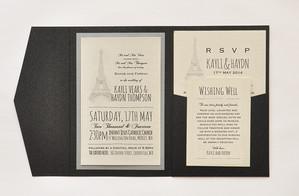 Paris Parisian Pocket Wedding Invitation Set