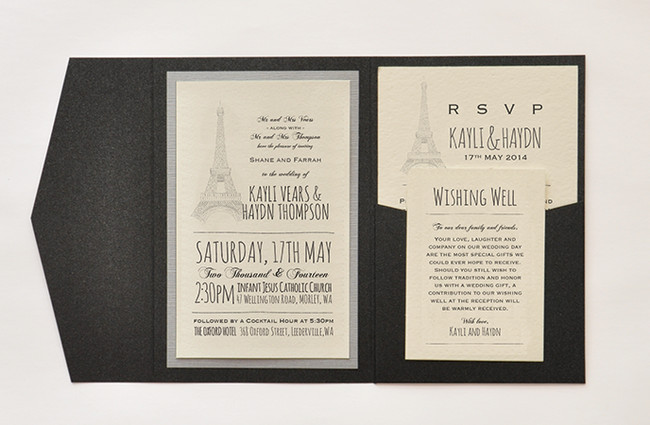 Paris Parisian Pocket Wedding Invitation Set