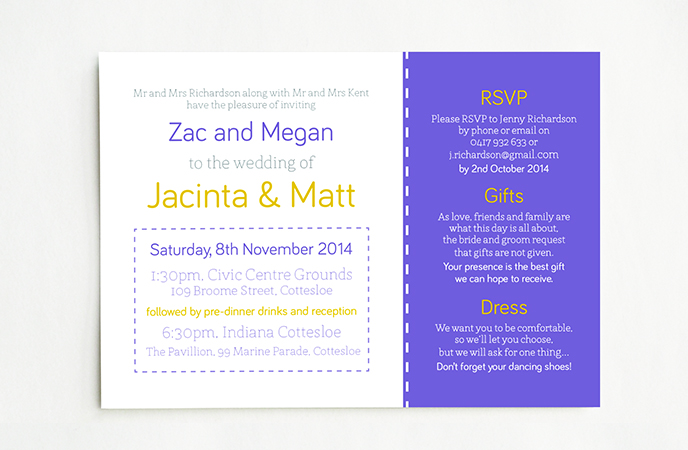 Purple & Yellow Wedding Invitations