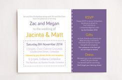 Purple & Yellow Stitch Wedding Invitation