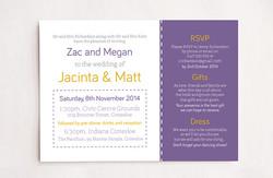 Purple & Yellow Wedding Invitations