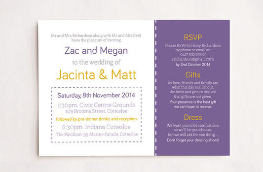 Purple & Yellow Stitch Wedding Invitation