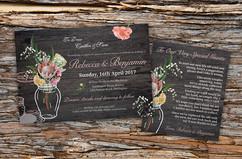 Rustic Australian Native Floral Wedding Invitation & Wishing Well
