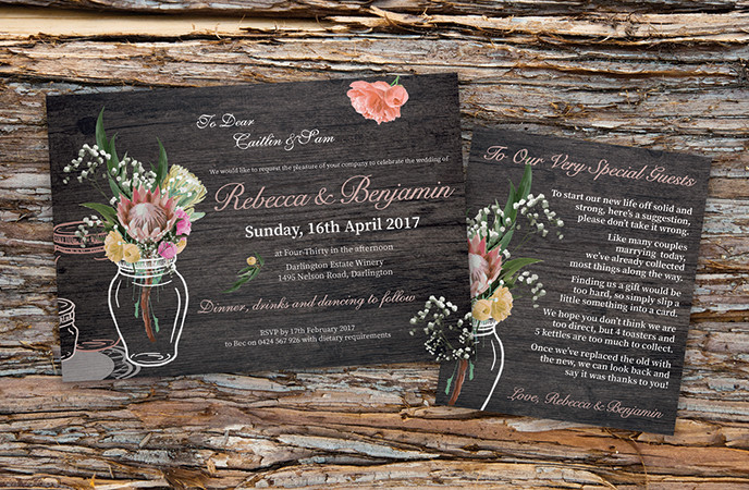 Rustic Australian Native Floral Wedding Invitation & Wishing Well