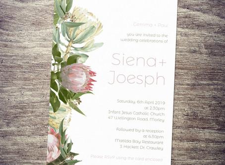 Protea & Gum Leaves Invitation