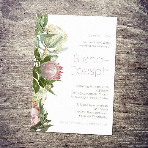 Australian Flowers Proteas & Gum Leaves Wedding Invitation