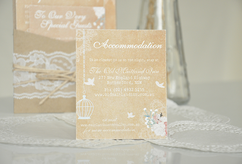 Vintage Rustic Accommodation Card